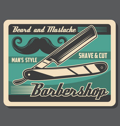 Barbershop mustache and beard razor shaving vector