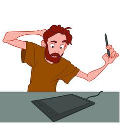Bearded artist draws on a graphics tablet vector