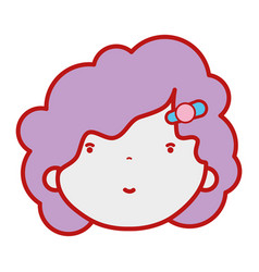 Beauty girl face with hairstyle to kawaii avatar vector
