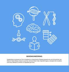 bioengineering concept banner in line style vector image