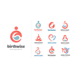 Birth pregnancy family and bacare logos and vector