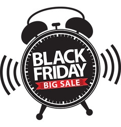 Black friday big sale alarm clock icon with red vector image