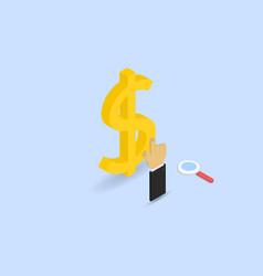 Businessman clicks on the dollar sign vector