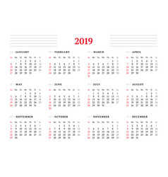 calendar for 2019 year on white background design vector image vector image