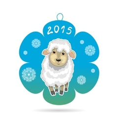 Card with snowflake with little cute sheep symbol vector image