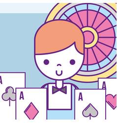 Casino croupier male poker aces cards roulette vector