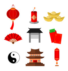 Chinese custom simple icon graphic set vector