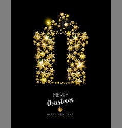 Christmas and new year gold star gift box card vector