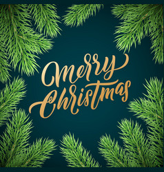 christmas card gold lettering on black background vector image