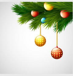 christmas decoration with balls and fir branches vector image