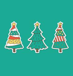 christmas tree stickers set vector image