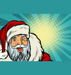 closeup of happy santa claus face vector image