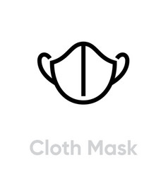 Cloth mask icon editable line vector