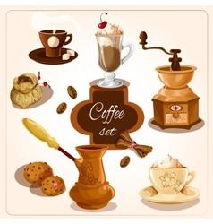 Coffee decorative set vector