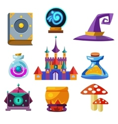 Collection fairy tale elements vector