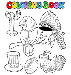 Coloring book american theme images vector