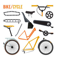 Constructor of different bicycle parts vector