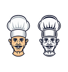 Cook head in two styles graphic objects vector