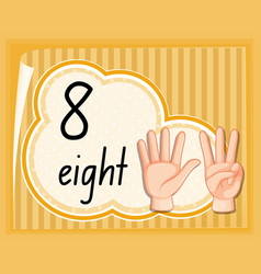 Count eight with hand gesture vector