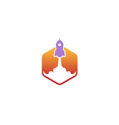 creative purple rocket orange hexagon logo vector image