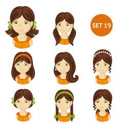 Cute brunet little girls with various hair style vector