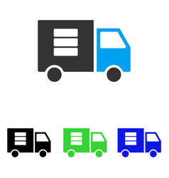 Data transfer van flat icon vector
