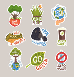 different taglines sticker cartoon vector image