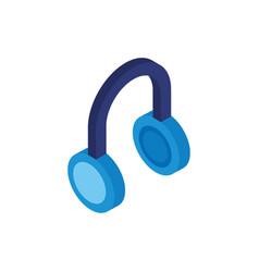 Earphones audio device isolated icon vector