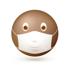 emoji emoticon with medical mask on face emoji vector image