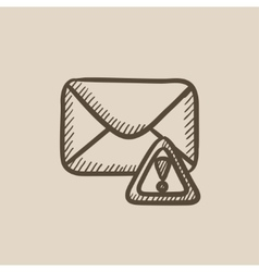 Envelope mail with warning signal sketch icon vector image
