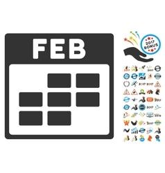 February Calendar Grid Flat Icon With Bonus vector image
