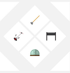 flat icon farm set of hothouse tool barbecue and vector image