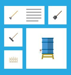 Flat icon farm set of shovel tool wooden barrier vector
