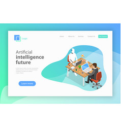 Flat isometric landing page for ai future vector
