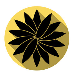 flower sign flat black icon with flat vector image