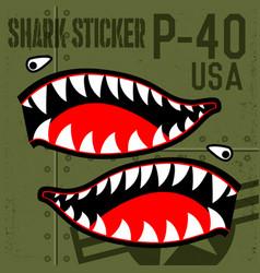 flying tiger warhawk usa shark mouth sticker vector image