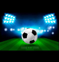 football arena with bright stadium lights and vector image