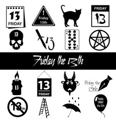 Friday the 13 bad luck day icons set eps10 vector