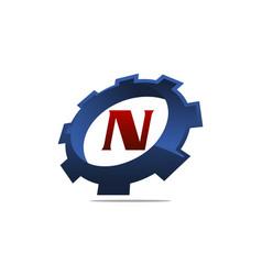 Gear logo letter n vector