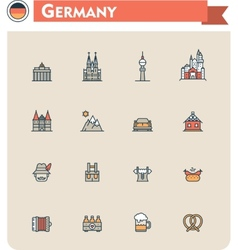 Germany travel icon set vector