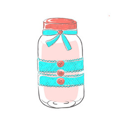 Glass jar decorated with lace and thread vector