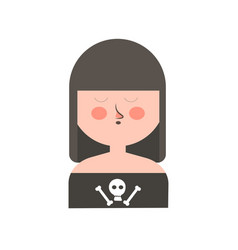 Gothic girl with dark hair and skull on shirt vector