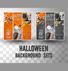 halloween flat banner template background vector image