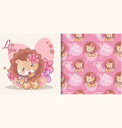 hand drawn happy cute lion with flowers and vector image