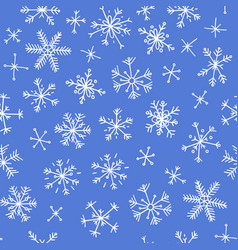 hand drawn seamless pattern blue on white vector image