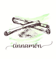 hand drawn sketch style cinnamon stick on vector image