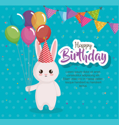 Happy birthday card with rabbit vector