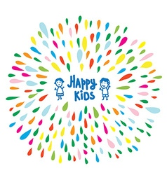 Happy kids logo or card for preschool or vector