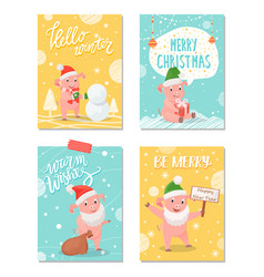 hello winter merry christmas greeting cards set vector image