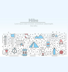 hike advertising flat line art vector image